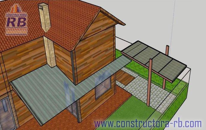 Vista distribución de espacios casa en madera campestre área 140 m2, piso en madera macizo, zonas comunes, parqueaderos, fachadas en madera, aislamiento térmico, acabado de cubierta en teja shingle, chimeneas