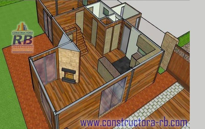 Vista distribución de espacios del primer piso casa en madera campestre área 140 m2, piso en madera macizo, zonas comunes, parqueaderos, fachadas en madera, aislamiento térmico, acabado de cubierta en teja shingle, chimeneas