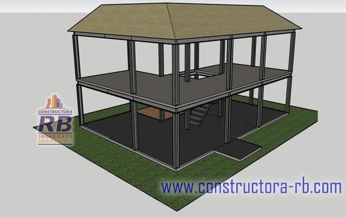 Conformación placa de cimentación segundo nivel, sistema mixto constructivo madera metal