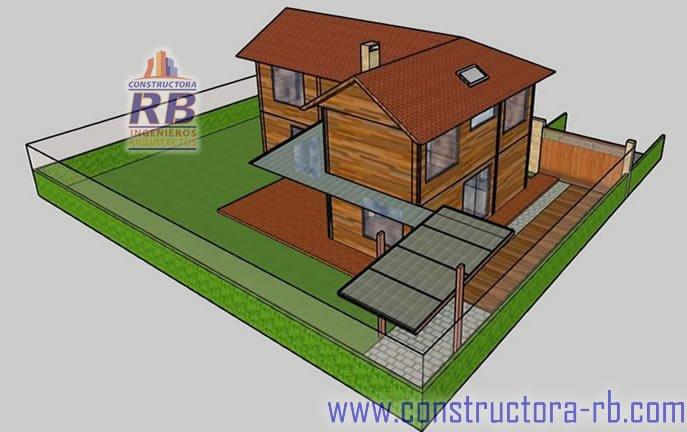 Diseño arquitectónico construcción en madera estructural, sistema aireación natural, aislamiento térmico ducteria de ventilación