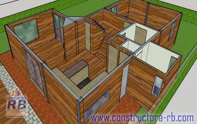 Vista distribución de espacios casa en madera campestre área 140 m2, piso en madera macizo, zonas comunes, parqueaderos, fachadas en madera, aislamiento térmico, acabado de cubierta en teja shingle, chimeneas.