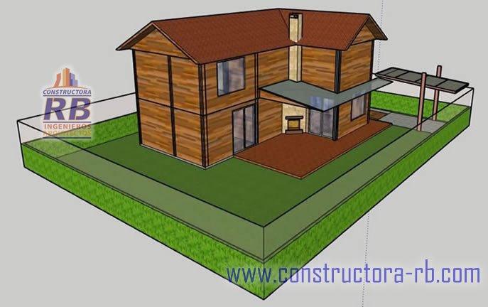 Vista casa planta dos niveles área 140 m2 con sus respectivos acabados en madera, construcción sistema bioclimático diseño y construcción RB constructora