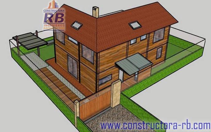 8. Vista fachada posterior, casa bioclimática en madera sistema mixto estructura metálica acabados en madera dos plantas zonas comunes un parqueadero y paneles solares e acceso